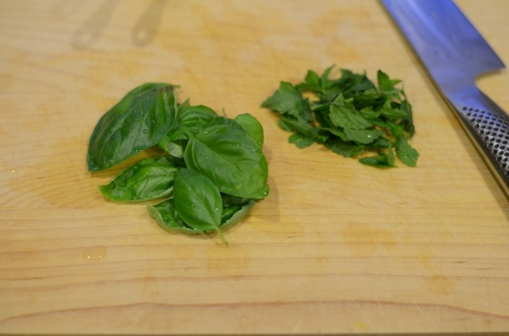I used a combination of fresh spearmint and fresh basil from my garden.