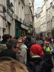 In line for the best falafel in Paris, at L'As du Fallafel, which was on a street with dozens of restaurants serving falafel.