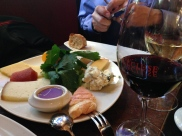 Stinky cheese plate, paired with a Bordeaux wine at L'Ecluse.