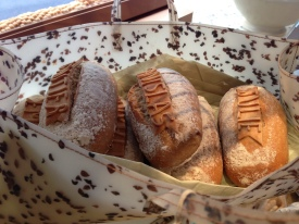 Bread on display at Poilane, an excellent bakery.