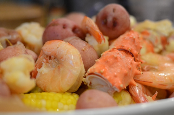 Shrimp boil with potatoes and corn and a few crab legs--why not?
